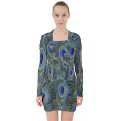 Peacock Feathers Blue Bird Nature V Neck Bodycon Long Sleeve Dress
