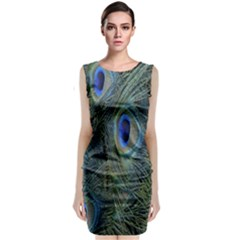 Peacock Feathers Blue Bird Nature Sleeveless Velvet Midi Dress