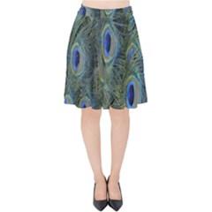 Peacock Feathers Blue Bird Nature Velvet High Waist Skirt