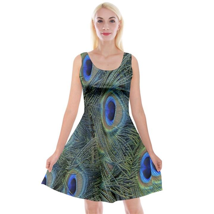 Peacock Feathers Blue Bird Nature Reversible Velvet Sleeveless Dress