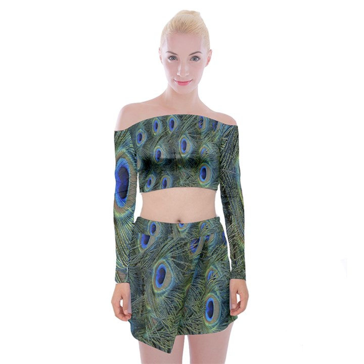Peacock Feathers Blue Bird Nature Off Shoulder Top with Skirt Set