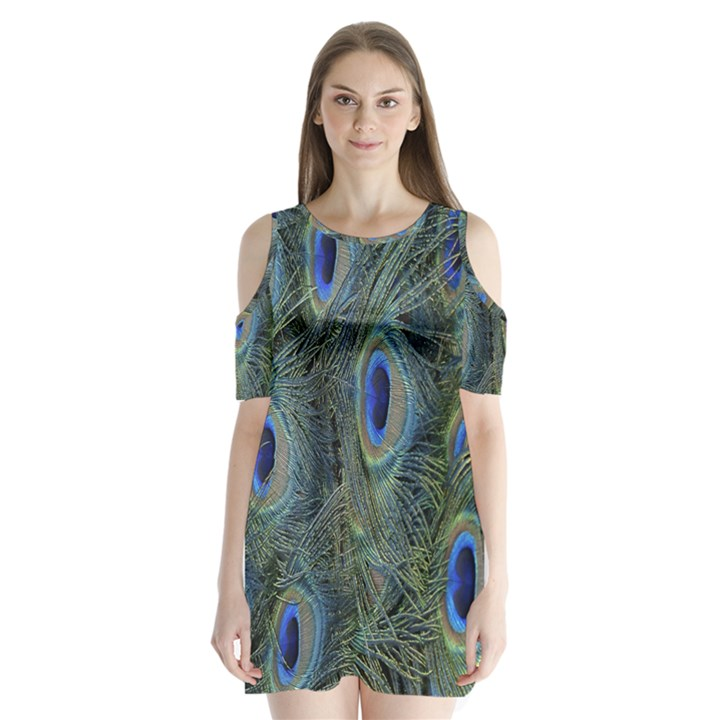 Peacock Feathers Blue Bird Nature Shoulder Cutout Velvet  One Piece