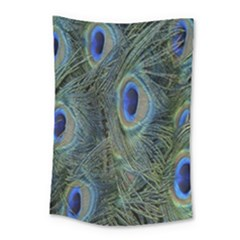 Peacock Feathers Blue Bird Nature Small Tapestry