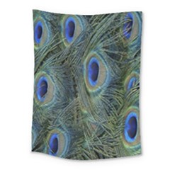 Peacock Feathers Blue Bird Nature Medium Tapestry