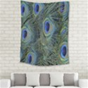 Peacock Feathers Blue Bird Nature Medium Tapestry View2