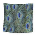 Peacock Feathers Blue Bird Nature Square Tapestry (Large) View1