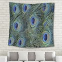 Peacock Feathers Blue Bird Nature Square Tapestry (Large) View2