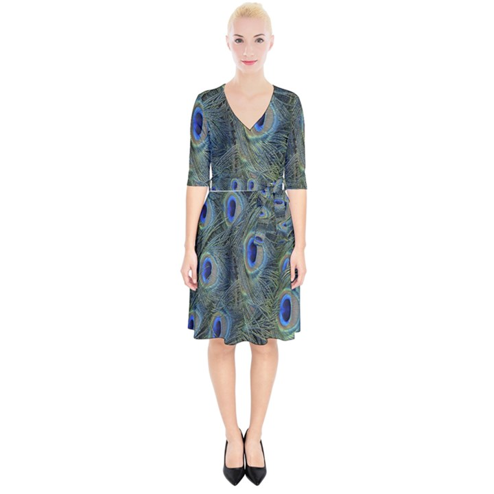 Peacock Feathers Blue Bird Nature Wrap Up Cocktail Dress