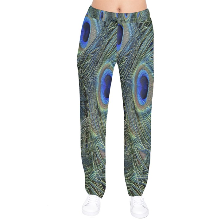 Peacock Feathers Blue Bird Nature Drawstring Pants