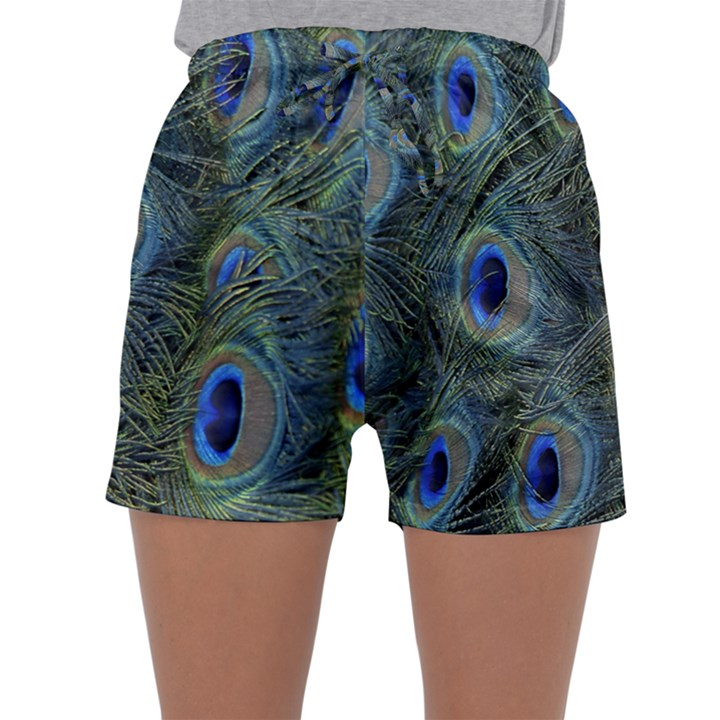 Peacock Feathers Blue Bird Nature Sleepwear Shorts