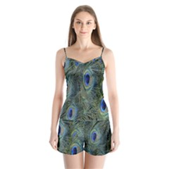 Peacock Feathers Blue Bird Nature Satin Pajamas Set