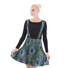 Peacock Feathers Blue Bird Nature Suspender Skater Skirt