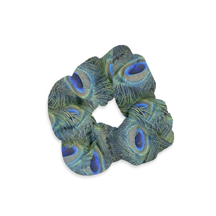Peacock Feathers Blue Bird Nature Velvet Scrunchie