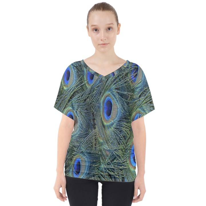 Peacock Feathers Blue Bird Nature V-Neck Dolman Drape Top