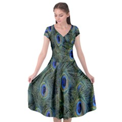 Peacock Feathers Blue Bird Nature Cap Sleeve Wrap Front Dress