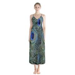 Peacock Feathers Blue Bird Nature Button Up Chiffon Maxi Dress