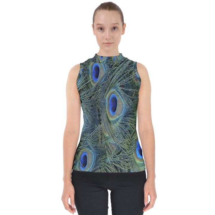 Peacock Feathers Blue Bird Nature Shell Top