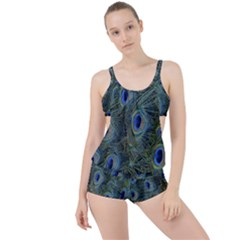 Peacock Feathers Blue Bird Nature Boyleg Tankini Set