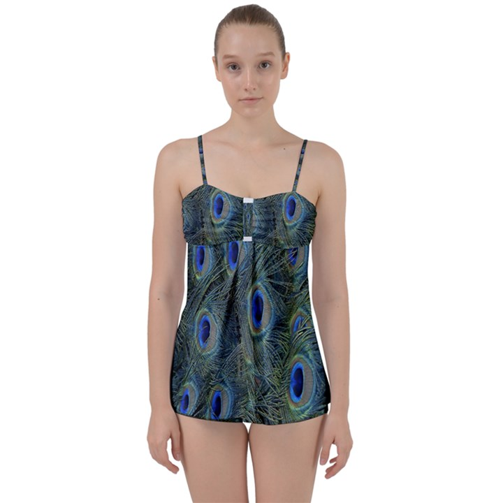 Peacock Feathers Blue Bird Nature Babydoll Tankini Set