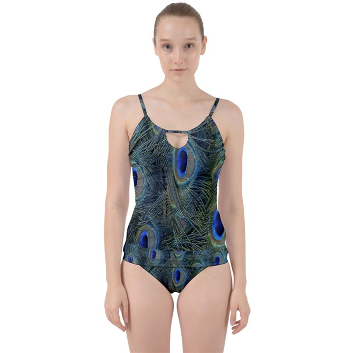 Peacock Feathers Blue Bird Nature Cut Out Top Tankini Set