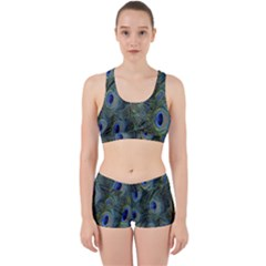 Peacock Feathers Blue Bird Nature Work It Out Sports Bra Set