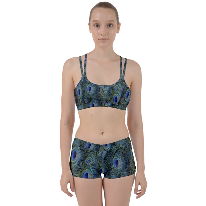 Peacock Feathers Blue Bird Nature Women s Sports Set