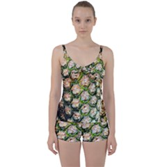 Pineapple Texture Macro Pattern Tie Front Two Piece Tankini