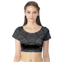 Tile Emboss Luxury Artwork Depth Short Sleeve Crop Top (tight Fit)