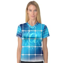 Tile Square Mail Email E Mail At V Neck Sport Mesh Tee