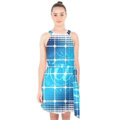 Tile Square Mail Email E Mail At Halter Collar Waist Tie Chiffon Dress