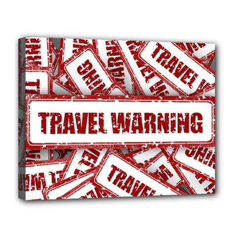 Travel Warning Shield Stamp Canvas 14  X 11
