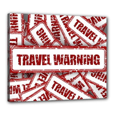 Travel Warning Shield Stamp Canvas 24  X 20