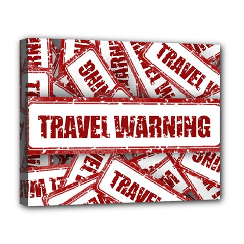 Travel Warning Shield Stamp Deluxe Canvas 20  X 16