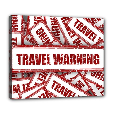 Travel Warning Shield Stamp Deluxe Canvas 24  X 20