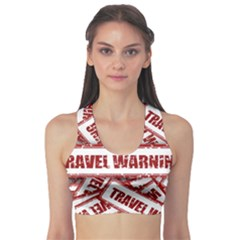 Travel Warning Shield Stamp Sports Bra