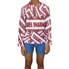Travel Warning Shield Stamp Kids  Long Sleeve Swimwear