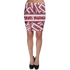 Travel Warning Shield Stamp Bodycon Skirt