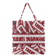 Travel Warning Shield Stamp Grocery Tote Bag