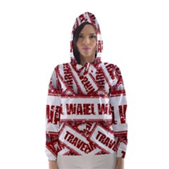 Travel Warning Shield Stamp Hooded Wind Breaker (women)