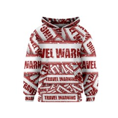 Travel Warning Shield Stamp Kids  Pullover Hoodie
