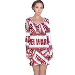 Travel Warning Shield Stamp Long Sleeve Nightdress