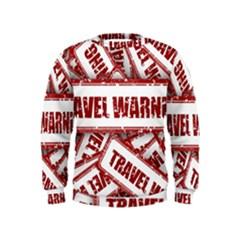 Travel Warning Shield Stamp Kids  Sweatshirt