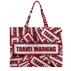 Travel Warning Shield Stamp Zipper Mini Tote Bag