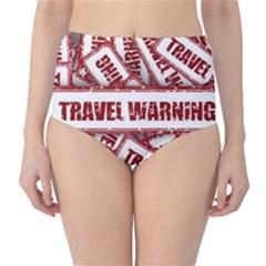 Travel Warning Shield Stamp High Waist Bikini Bottoms