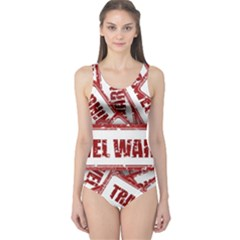 Travel Warning Shield Stamp One Piece Swimsuit