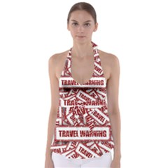 Travel Warning Shield Stamp Babydoll Tankini Top
