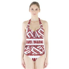 Travel Warning Shield Stamp Halter Swimsuit