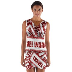 Travel Warning Shield Stamp Wrap Front Bodycon Dress