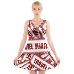 Travel Warning Shield Stamp V Neck Sleeveless Skater Dress