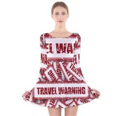 Travel Warning Shield Stamp Long Sleeve Velvet Skater Dress